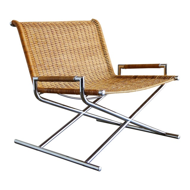 """1966 Vintage Cane & Chrome Plated Steel """" Sled """" Chair For Sale"""