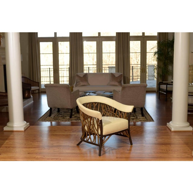 Modern Stunning Pair of Rattan Club Chairs in Parchment Leather For Sale - Image 3 of 10