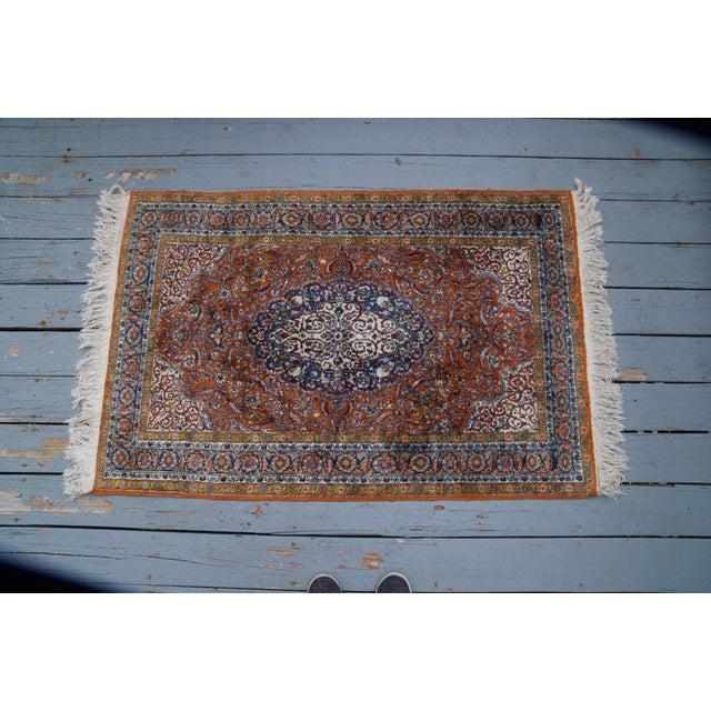 Blue Vintage Silk & Wool Kashmir Prayer Rug-3'x5' For Sale - Image 8 of 9