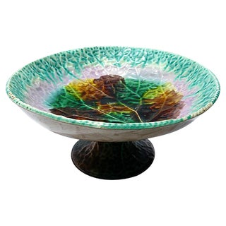 Antique Large Majolica Begonia Pedestal Bowl