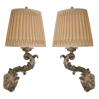 Pair of Beautiful 1970s Sirmos Trompe l'Oeil Plaster Wall Sconces For Sale