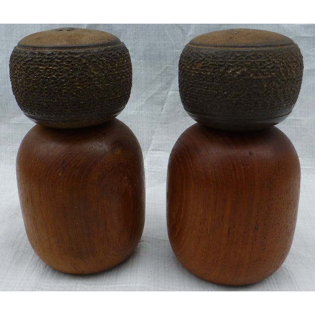 Danish Modern Teak & Ceramic Salt & Pepper Shakers - Image 2 of 6