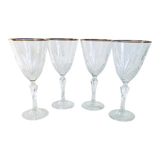 Gold Edge Crystal Wine Glasses - Set of 4 For Sale