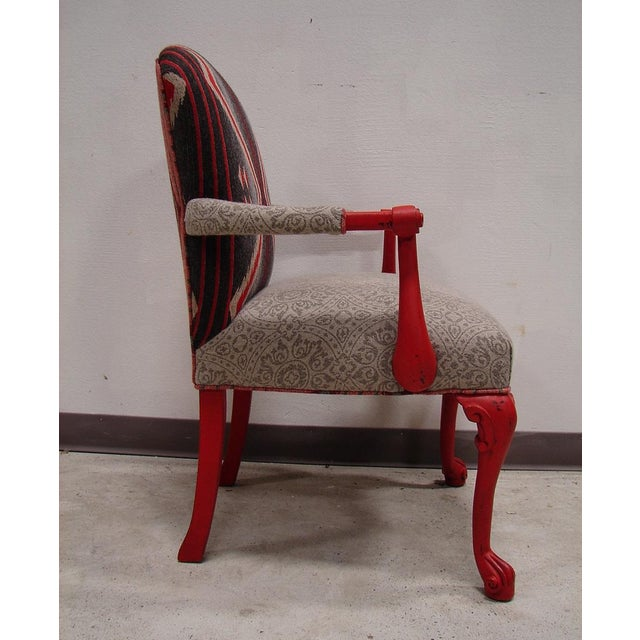 Custom Fabric Accent Chairs.Custom Red Mult Fabric Aztec Accent Chair