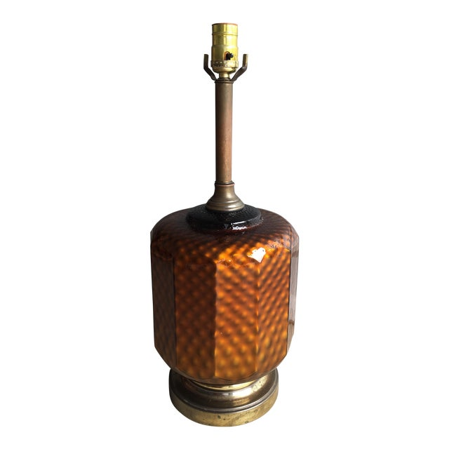Mid Century Brass & Amber Glass Lamp - Image 1 of 6