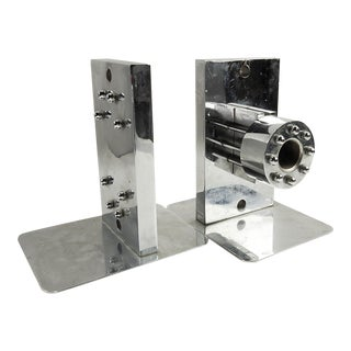 Engine Parts Chrome Bookends - a Pair For Sale