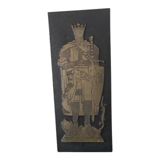 Mid-Century Medieval Knight With Lion Shield Art