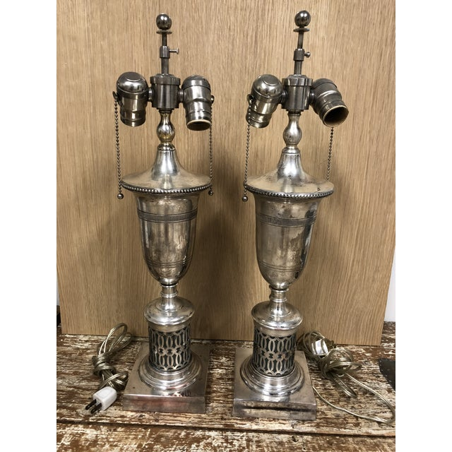 2000 - 2009 English Traditional Antiqued Chrome Finish Table Lamps - a Pair For Sale - Image 5 of 5