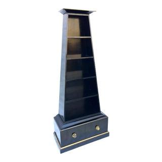 Pyramidal Black Lacquer Bookcase