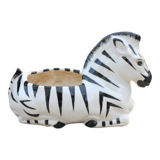 Vintage Ceramic Zebra Planter For Sale