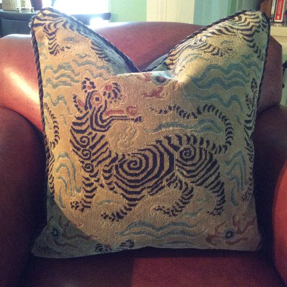 Clarence House Pillows in Tibetan Dragon Raised Velvet - a Pair - Image 3 of 6