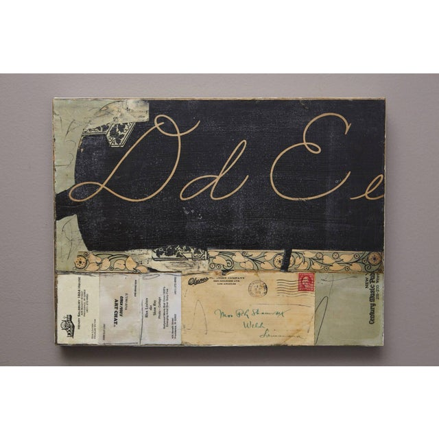 Mixed Media. Collage on wood board, ink, crayon, found objects, encaustic. Unsigned, sticker on back with title, year and...