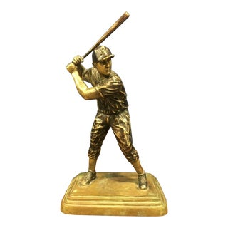 Antique Maitland Smith Bronze Finish Cast Baseball Player For Sale