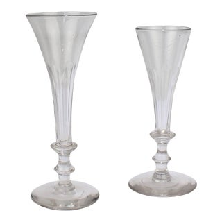 Antique Early 19th Century Regency Period Faceted Glass Champagne Flutes - A Pair For Sale