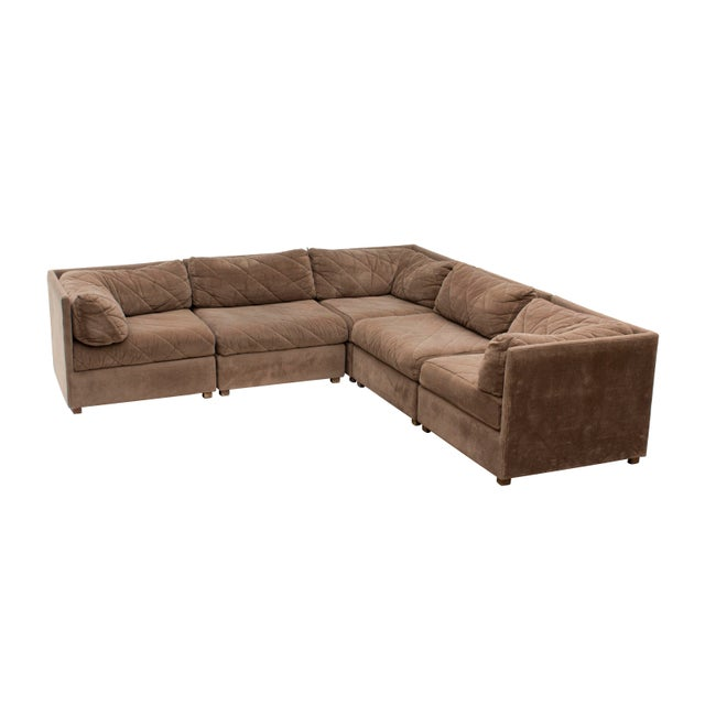 Modular five piece sectional sofa by Selig in a textured chestnut chenille with a diagonal quilted pattern for texture....