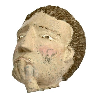Americana Folk Sculpture Cement Head For Sale