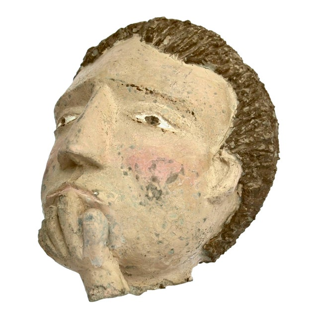 Americana Folk Sculpture Cement Head For Sale