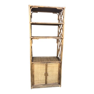 1960s Mid Century Modern Bamboo Wicker Rattan Etagere For Sale