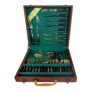 Cased Mid-Century Modern Rosewood & Brass Cuttlery Set For Sale