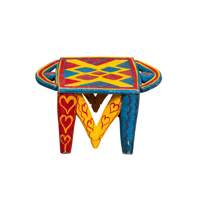 Wood African Painted Wood Stool For Sale - Image 7 of 7