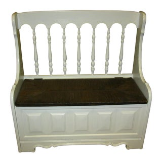 Vintage French Country Cottage White Rush Seat Bench Settee For Sale