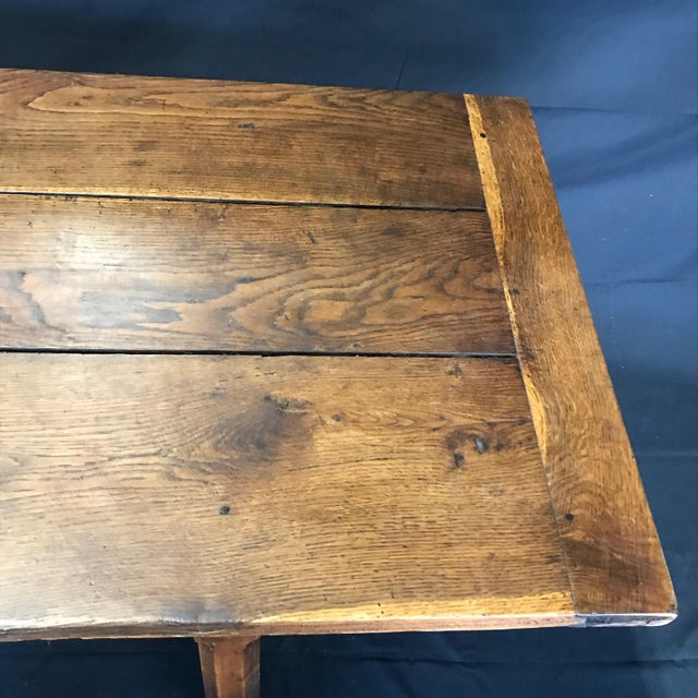 Early 19th Century Oak Farm Table With Sliding Drawers For Sale - Image 11 of 13