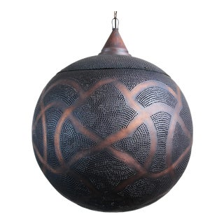 Antique Copper Globe Lantern XL For Sale