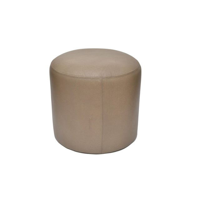 Contemporary Original Round Shagreen Leather Ottoman For Sale - Image 3 of 4
