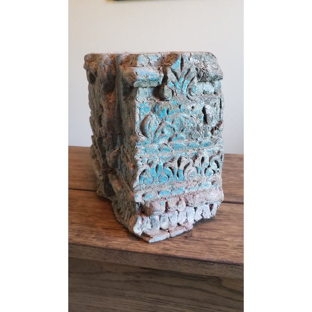 19th Century Architectural Salvage Hand Carved Wood Moulding Block From India For Sale - Image 4 of 12