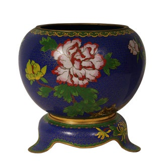 Vintage Chinese Floral Pattern Cloisonne Bowl For Sale