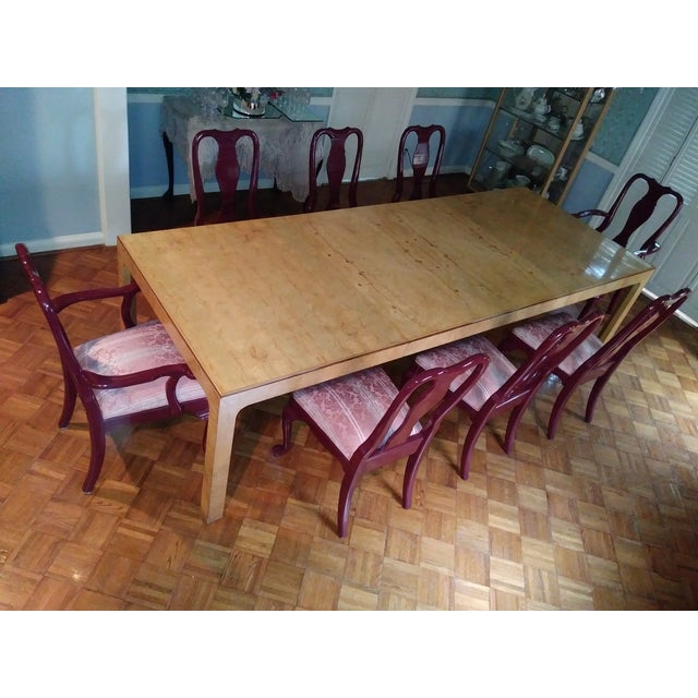Art Deco Henredon Walnut Parsons Table / Dining Set For Sale - Image 3 of 12