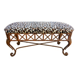 Vintage Faux Bamboo Bench For Sale