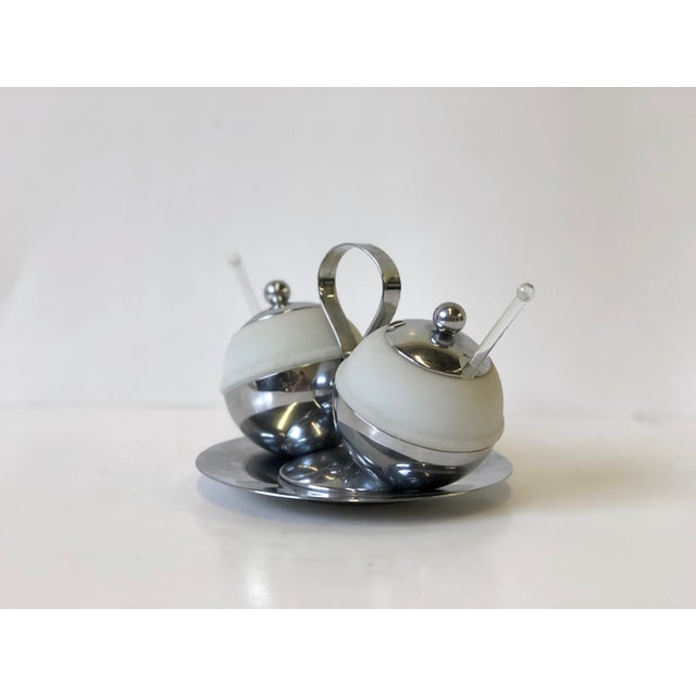 Mid-Century Modern Art Deco Chrome and Glass Serving Piece by Chase - Set of 4 For Sale - Image 3 of 9