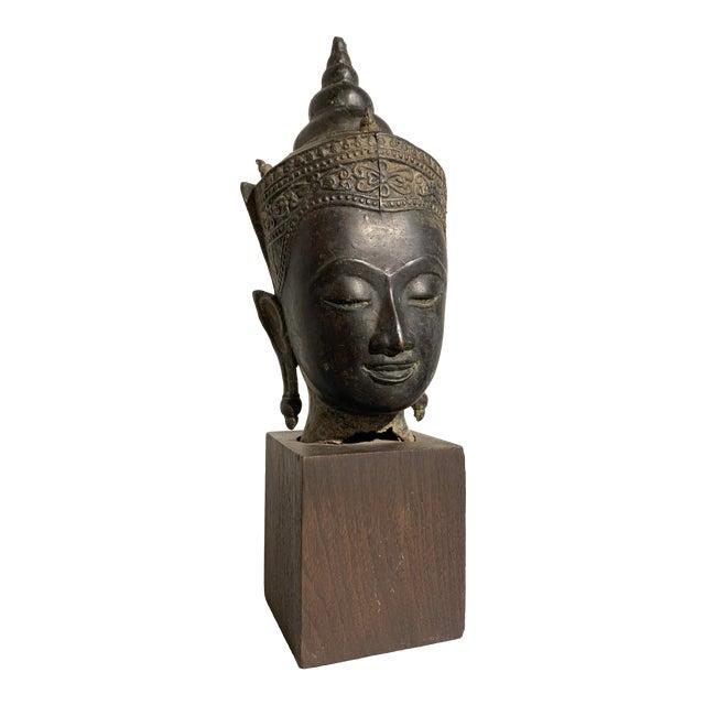 Vintage Thai Ayutthaya Style Bronze Buddha Head For Sale