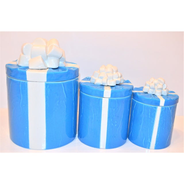 1970s Italian Trompe l'Oeil Mancioli Canister Set of 3 For Sale - Image 9 of 13