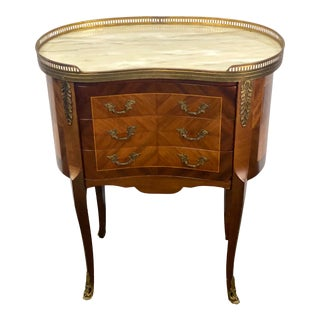 Vintage Louis XV Kidney Shapes Inlay Veneer Marble Top Side Table Chest For Sale