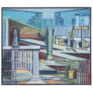 Louise Odes Neaderland Architectural City Painting, 1964 For Sale