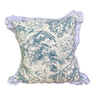 Vintage Fabric Blue & White Flora & Fauna Print Pillow For Sale
