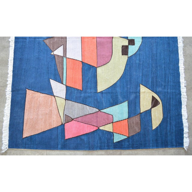 Silk Paul Klee - Sailing Boats - Inspired Silk Hand Woven Area - Wall Rug 4′6″ × 5′9″ For Sale - Image 7 of 11