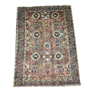 Antique Distressed Persian Heriz Rug For Sale