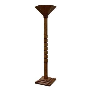 Art Deco Oak Torchiere Floor Lamp For Sale