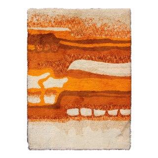 Keivan Woven Arts,13-0517, Burnt Orange Swedish Rya Rug- 5′4″ × 7′7″ For Sale