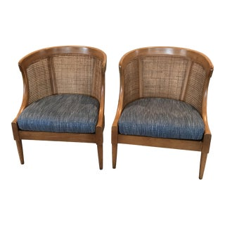 Vintage Mid Century American of Martinsville Cane Barrel Chairs - A Pair For Sale