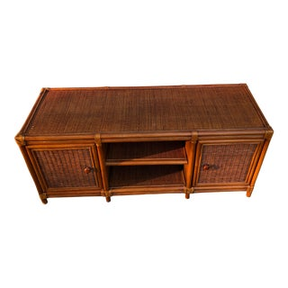 Vintage Natural Wicker Console Center For Sale