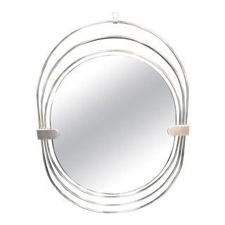 Italian Elliptical Wall Mirror, 1970s For Sale