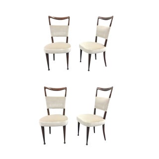 Osvaldo Borsani Rosewood and Velvet Dining Chairs - Set of 4 For Sale