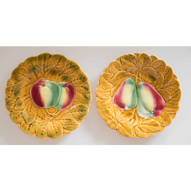 Green French Majolica Fruit Plates, Set of 2 For Sale - Image 8 of 8