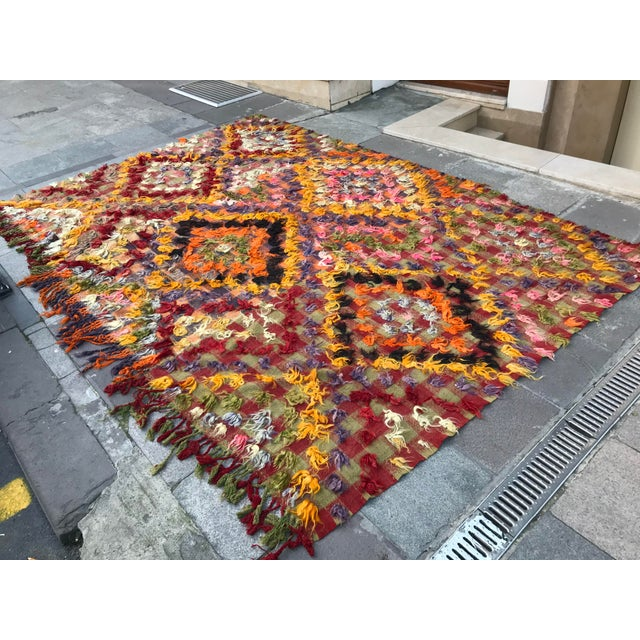 Abstract 1960s Turkish Bohemian Floral Antique Handmade Rug For Sale - Image 3 of 9