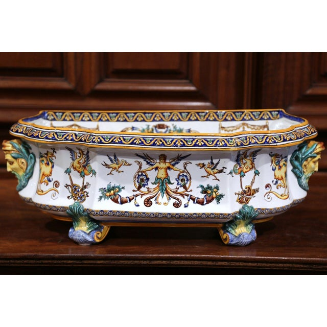Large 19th Century French Louis XV Hand-Painted Faience Jardinière Signed Gien For Sale In Dallas - Image 6 of 11