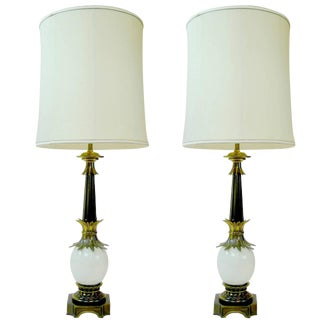 Pair of Stiffel Ostrich Egg Lamps with Brass Details